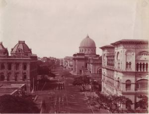 Albumen print, street-view of Calcutta showing Post Office, 1880